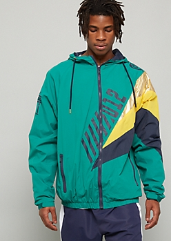 Green Metallic Colorblock Graphic Windbreaker