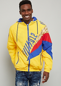 Yellow Metallic Colorblock Graphic Windbreaker