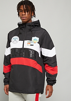 Black Colorblock Superior Patch Hooded Windbreaker