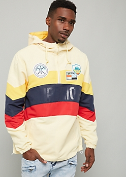 Yellow Colorblock Superior Patch Hooded Windbreaker