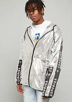 Metallic Silver Side Striped Superior Graphic Windbreaker