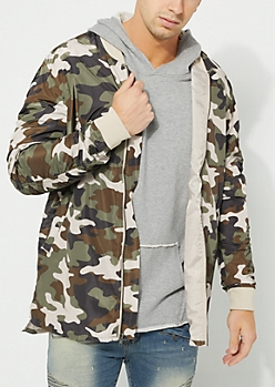 Brown Camo Bomber Jacket