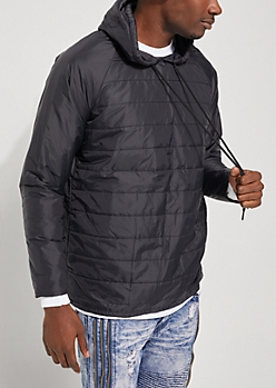 Black Quilted Puffer Hoodie