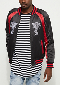 Phoenix Striped Bomber Jacket