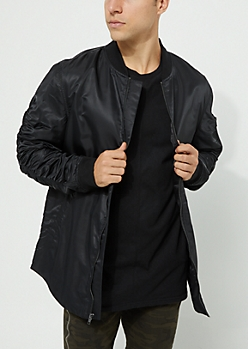 Black Utility Long Length Bomber