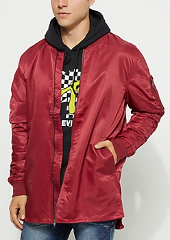 Burgundy Utility Long Length Bomber Jacket