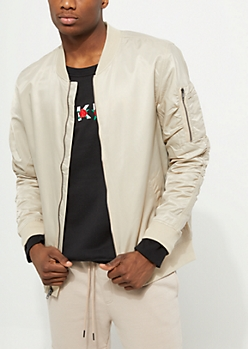 Sand Windbreaker Bomber Jacket