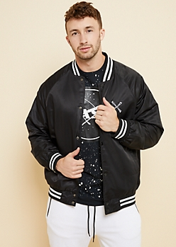 Black Crossbones Varsity Jacket