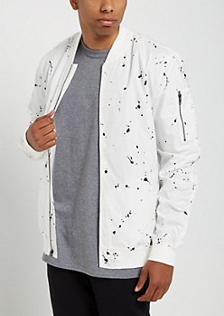 White Paint Splattered Bomber Jacket