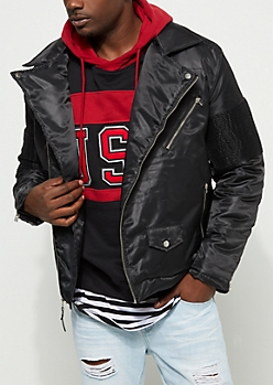 Black Moto Puffer Jacket
