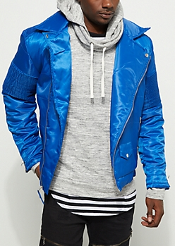 Royal Blue Moto Puffer Jacket