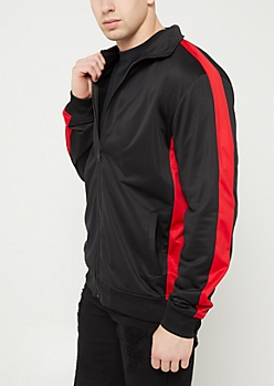 Black & Red Tricot Varsity Striped Track Jacket