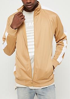 Khaki Tricot Varsity Striped Track Jacket