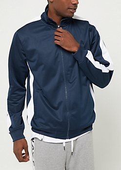 Navy Tricot Varsity Striped Track Jacket