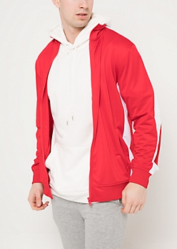 Red Tricot Varsity Striped Track Jacket