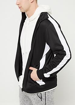 Black & White Tricot Varsity Striped Track Jacket