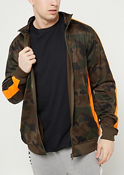 Camo Tricot Varsity Striped Track Jacket