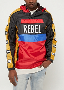 Black Colorblock Rebel Flag Windbreaker