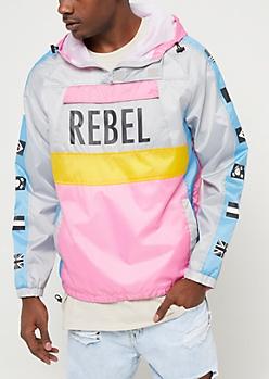 Grey Colorblock Rebel Windbreaker