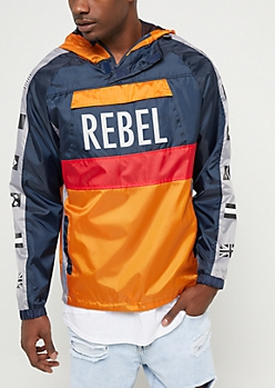 Navy Colorblock Rebel Flag Windbreaker
