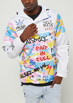 White Camo Text Pullover Hooded Windbreaker