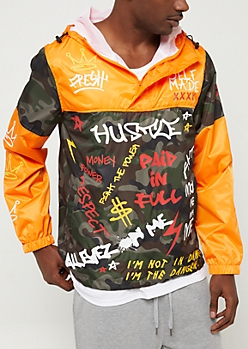 Orange Camo Text Pullover Hooded Windbreaker