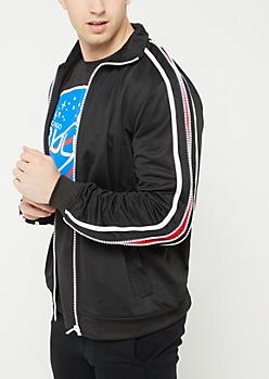Black Tricot Zipper Trim Track Jacket