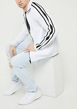 White Tricot Zipper Trim Track Jacket