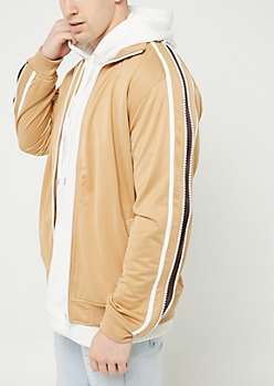 Khaki Tricot Zipper Trim Track Jacket