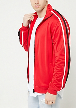 Red Tricot Zipper Trim Track Jacket