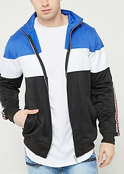 Black Tricot Colorblock Track Jacket
