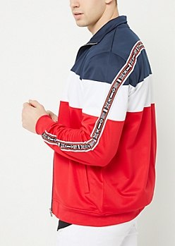 Red Tricot Colorblock Track Jacket