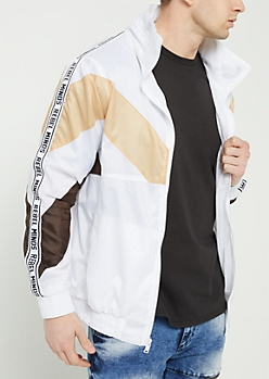 White Colorblock Rebel Minds Hooded Windbreaker