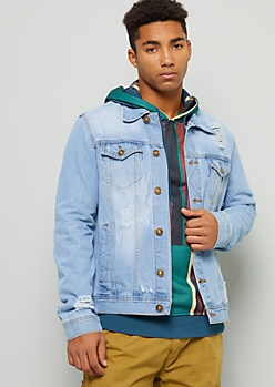 Light Wash Button Down Ripped Denim Jacket