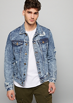 Medium Acid Wash Distressed Jean Jacket