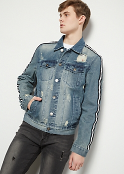 Medium Wash Side Striped Destroyed Denim Jacket