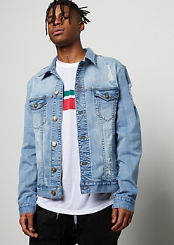 Light Wash Distressed Stretch Jean Jacket