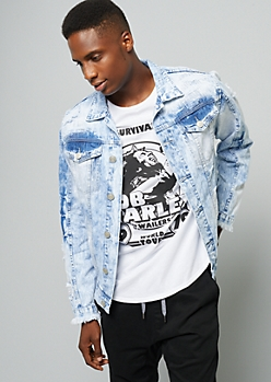 Light Acid Wash Ripped Sleeve Denim Jacket