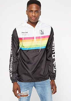 Rainbow Colorblock Polaroid Kanji Graphic Windbreaker