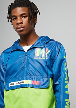 Navy Colorblock MTV Half Zip Graphic Windbreaker