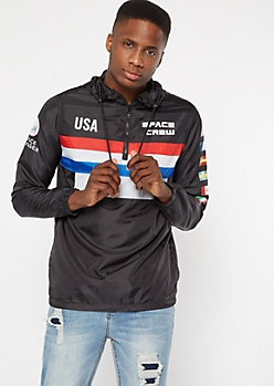Black Striped NASA Space Crew Graphic Windbreaker
