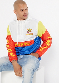 Blue Colorblock PacMan Graphic Windbreaker