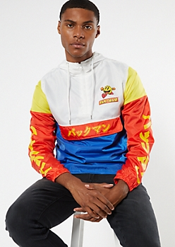 Colorblock Kanji Pac Man Popover Windbreaker