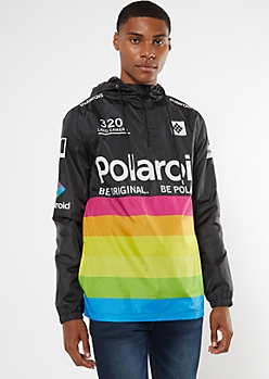 Black Polaroid Anorak Windbreaker