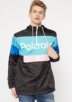 Teal Polaroid Colorblock Graphic Windbreaker