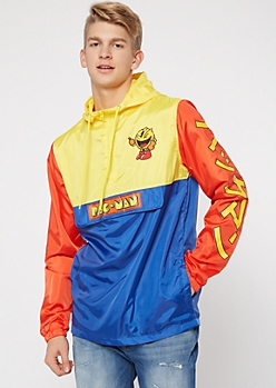 Red Colorblock Pac Man Graphic Windbreaker