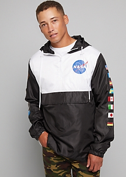Black Colorblock Half Zip NASA Windbreaker