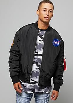 Black NASA Patch Quilted Bomber Jacket
