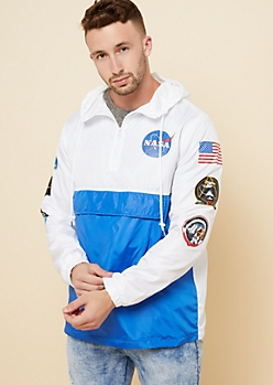 Blue Colorblock Half Zip Pullover NASA Windbreaker