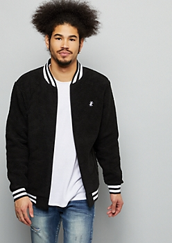 Black Sherpa Varsity Striped Bomber Jacket